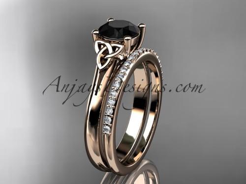 14kt rose gold diamond celtic trinity knot wedding ring, engagement set with a Black Diamond center stone CT7154S