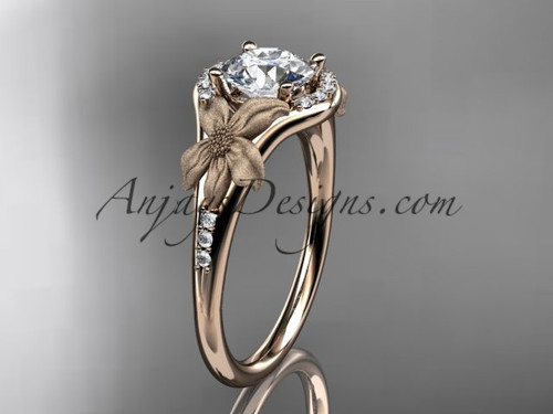 "14kt rose gold diamond leaf and vine wedding ring, engagement ring with a ""Forever One"" Moissanite center stone ADLR91"