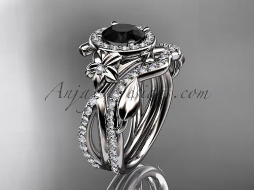 14kt white gold diamond leaf and vine, flower engagement set, wedding set,  with a Black Diamond center stone ADLR89S