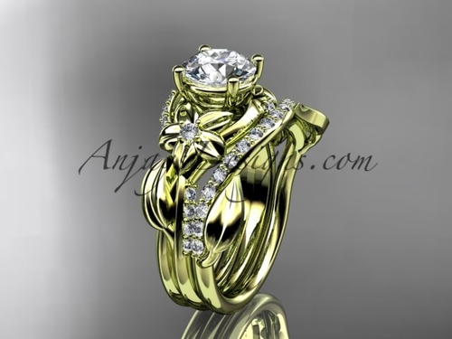 """Unique 14k yellow gold diamond flower, leaf and vine wedding ring, engagement set with a """"Forever One"""" Moissanite center stone ADLR224S"""