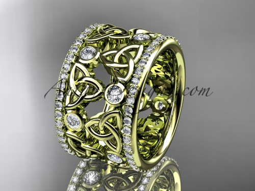14kt yellow gold diamond celtic trinity knot  wedding band, bridal ring CT7232B