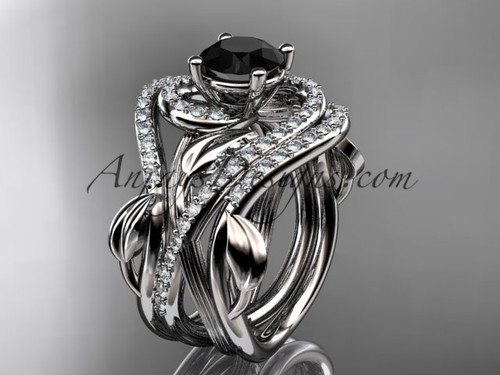 Unique 14kt white gold diamond leaf and vine wedding ring, engagement ring with a Black Diamond center stone and double matching band ADLR222S