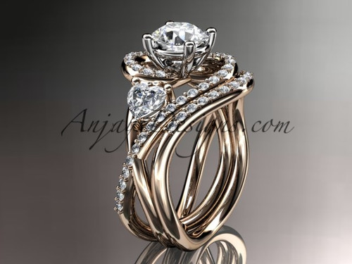 """Unique 14kt rose gold diamond engagement set, wedding ring with a """"Forever One"""" Moissanite center stone ADLR320S"""
