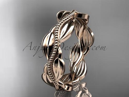 Unique 14k rose gold leaf and vine engagement ring, wedding band ADLR258G
