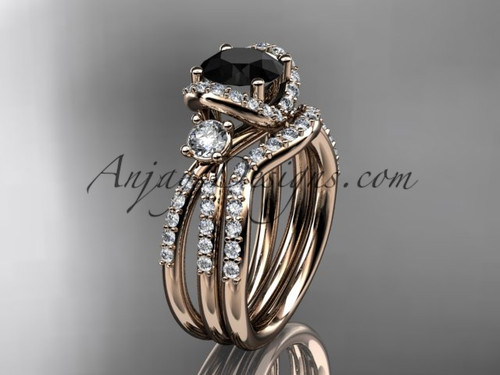 14kt rose gold diamond unique engagement set, wedding ring with a Black Diamond center stone ADER146S