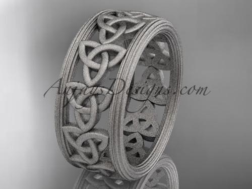 platinum celtic trinity knot wedding band, matte finish wedding band, engagement  ring CT7513G