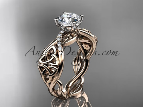 "14kt rose gold diamond celtic trinity knot wedding ring, engagement ring with a ""Forever One"" Moissanite center stone CT7270"