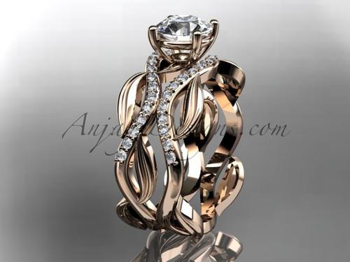 14kt rose gold diamond leaf and vine wedding set, engagement set ADLR264S