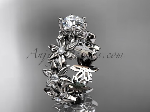 """Unique 14k white gold diamond floral engagement ring with a """"Forever One"""" Moissanite center stone ADLR339"""