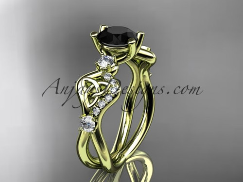 Black Stone Wedding Rings Yellow Gold Celtic Rings CT768