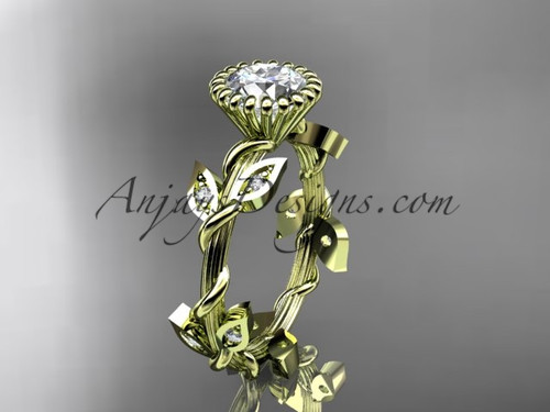 Yellow Gold Diamond Ring, Leaf and Vine Wedding Ring ADLR20A