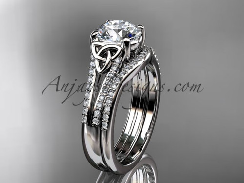 """platinum celtic trinity knot engagement ring ,diamond wedding ring, engagement set with a """"Forever One"""" Moissanite center stone CT7108S"""