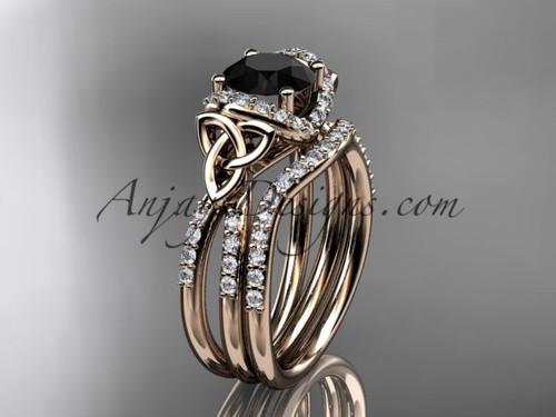 14kt rose gold diamond celtic trinity knot wedding ring, engagement set with a Black Diamond center stone CT7155S