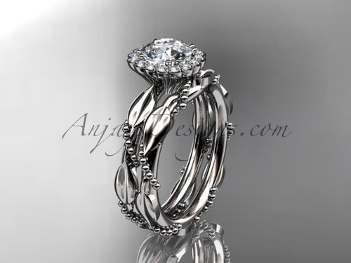 14kt white gold diamond leaf and vine wedding set, engagement set ADLR337