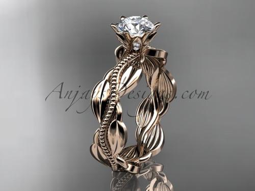 Unique 14k rose gold leaf and vine engagement ring, wedding ring ADLR258