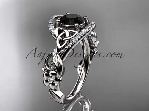 platinum diamond celtic trinity knot wedding ring, engagement ring with a Black Diamond center stone CT7211