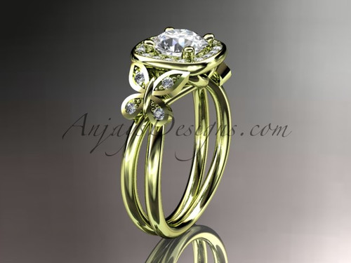 "14kt yellow gold diamond unique butterfly engagement ring, wedding ring with a ""Forever One"" Moissanite center stone ADLR330"