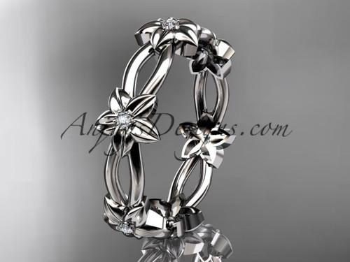 14k white gold diamond leaf,vine flower wedding ring,engagement ring ADLR19B