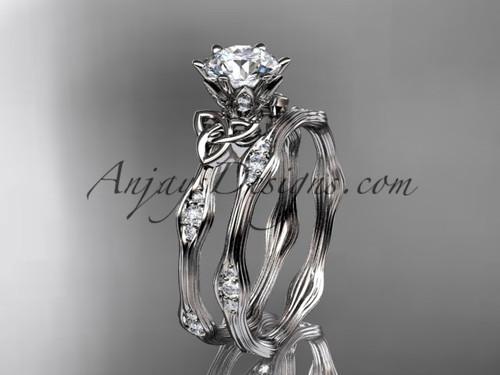 14kt white gold diamond celtic trinity knot wedding ring, engagement set CT7132S