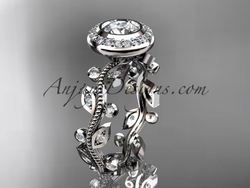 "14k white gold diamond leaf and vine wedding ring, engagement ring with a ""Forever One"" Moissanite center stone ADLR212"