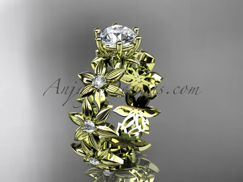 Nature Inspired Yellow Gold Diamond Flower Ring Designs ADLR339