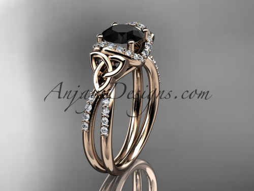 14kt rose gold diamond celtic trinity knot wedding ring, engagement ring with a Black Diamond center stone CT7155