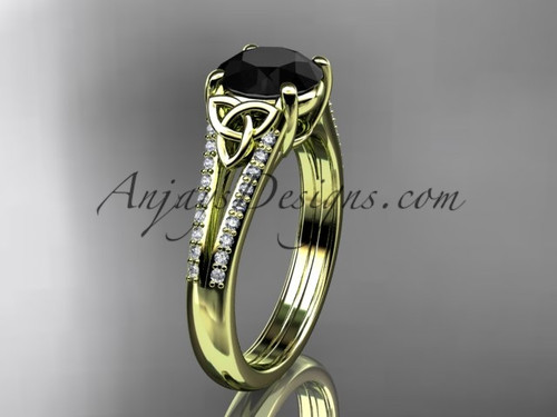 14kt yellow gold celtic trinity knot engagement ring ,diamond wedding ring with a Black Diamond center stone CT7108