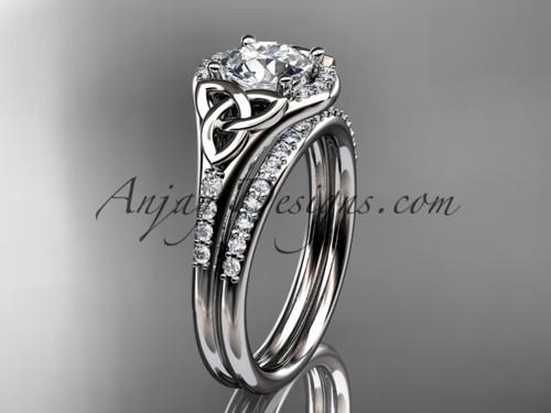 platinum diamond celtic trinity knot wedding ring, engagement set CT7126S