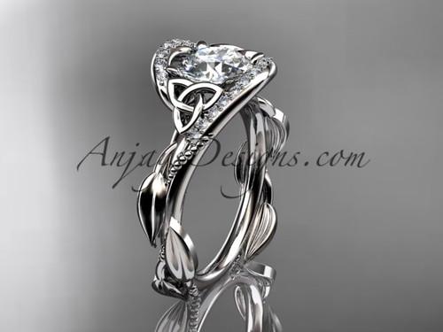 Scottish Celtic Wedding Ring White Gold Moissanite CT764