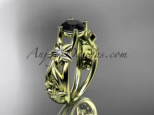 Flower Engagement Ring Yellow Gold Black Diamond ADLR216