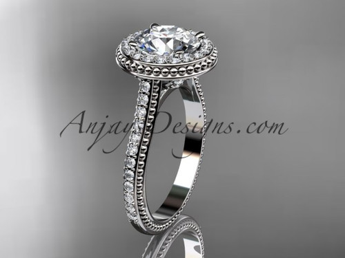 """Platinum diamond unique engagement ring, wedding ring with a """"Forever One"""" Moissanite center stone ADER97"""