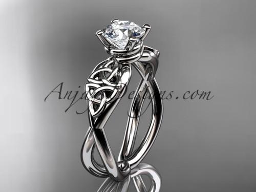 Celtic Bridal Ring - Moissanite Platinum Ring CT770
