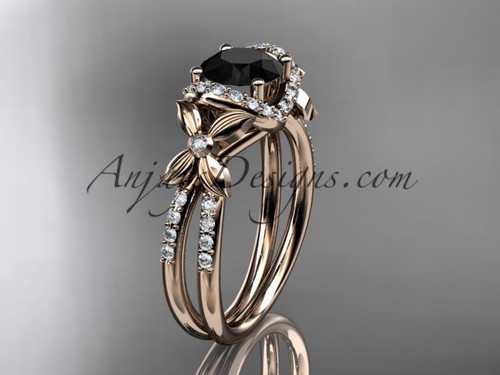 14kt rose gold diamond floral wedding ring, engagement ring with a Black Diamond center stone ADLR140