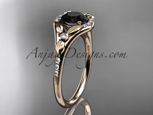 14kt rose gold diamond floral wedding ring, engagement ring with a Black Diamond center stone ADLR126