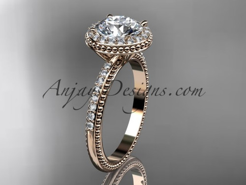 14kt rose gold diamond unique engagement ring, wedding ring ADER95