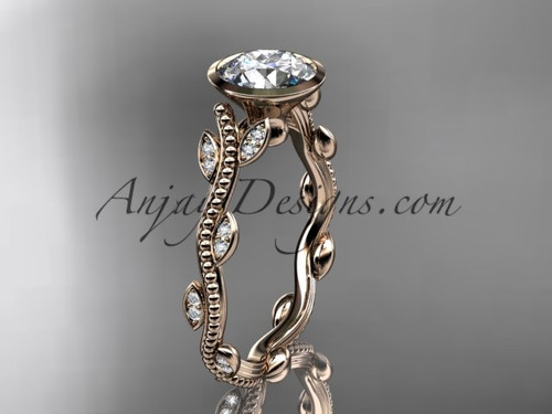 14k rose gold diamond leaf and vine wedding ring, engagement ring ADLR33