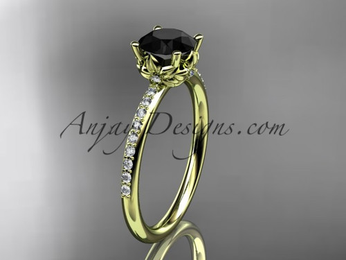 14kt yellow gold diamond floral wedding ring, engagement ring with a Black Diamond center stone ADLR92