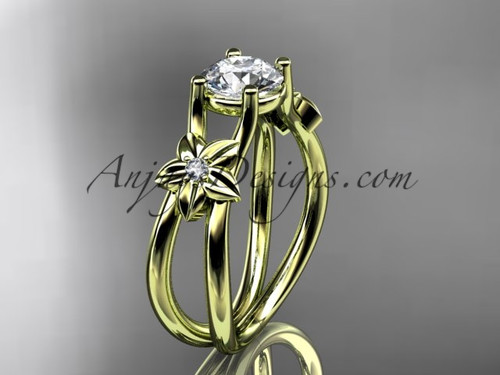 """14kt yellow gold diamond floral wedding ring, engagement ring with a """"Forever One"""" Moissanite center stone ADLR130"""