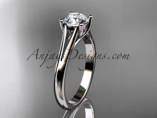 """platinum unique engagement ring, wedding ring, solitaire ring with a """"Forever One"""" Moissanite center stone ADER109"""