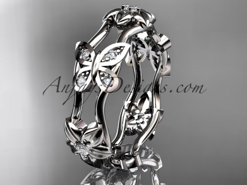 Nature Inspired Butterfly Wedding Band, White Gold Bridal Ring ADLR153B