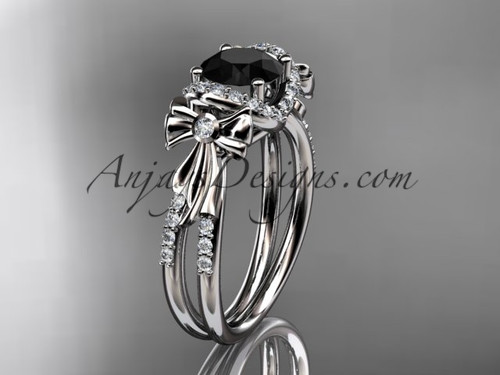 platinum diamond unique engagement ring, bow ring, wedding ring with a Black Diamond center stone ADER155