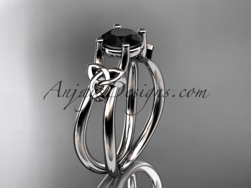 platinum celtic trinity knot wedding ring, engagement ring with a Black Diamond center stone CT7130