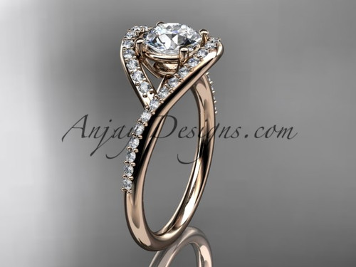 """14kt rose gold diamond wedding ring, engagement ring with a """"Forever One"""" Moissanite center stone ADLR383"""