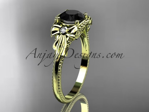 Yellow Gold Black Diamond Bow Unique Engagement Ring ADLR376
