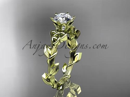 Moissanite Celtic Ring, Yellow Gold Leaf Bridal Ring CT7248