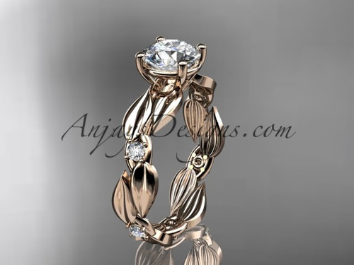 Moissanite Ring - 14kt Rose Gold Leaf Bridal Ring ADLR58