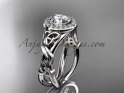 14kt white gold diamond celtic trinity knot wedding ring, engagement ring CT7302