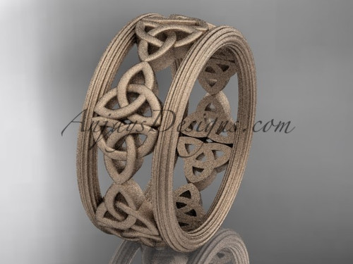 14kt rose gold celtic trinity knot wedding band, matte finish wedding band, engagement  ring CT7236G