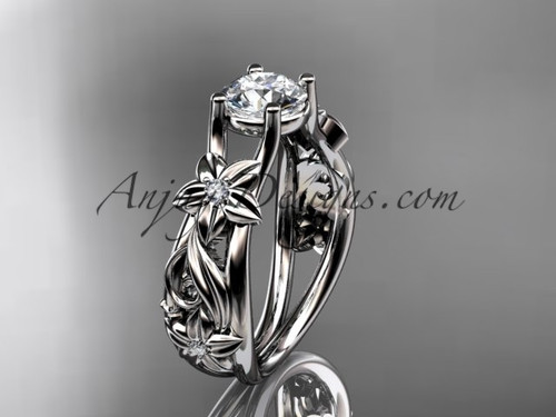 Flower Engagement Ring White Gold Moissanite Ring ADLR216