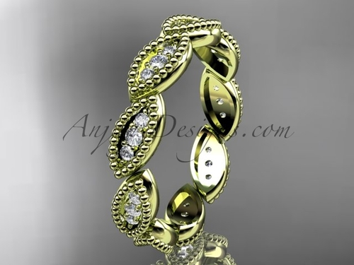 14kt yellow gold diamond leaf wedding ring, nature inspired jewelry ADLR241